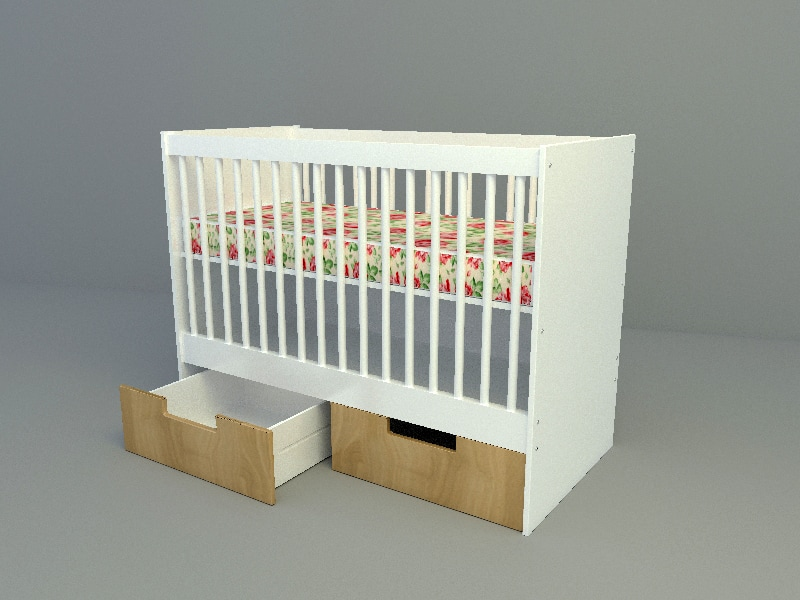 Baby bed with drawer free 3d model download