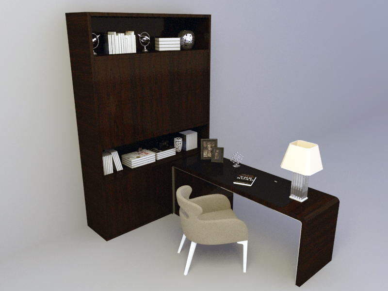 Office furniture with table set free 3d model download