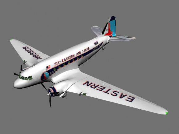 Airplane DC3 free 3d model download