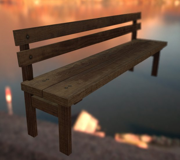 Bench with backrest free 3d model download