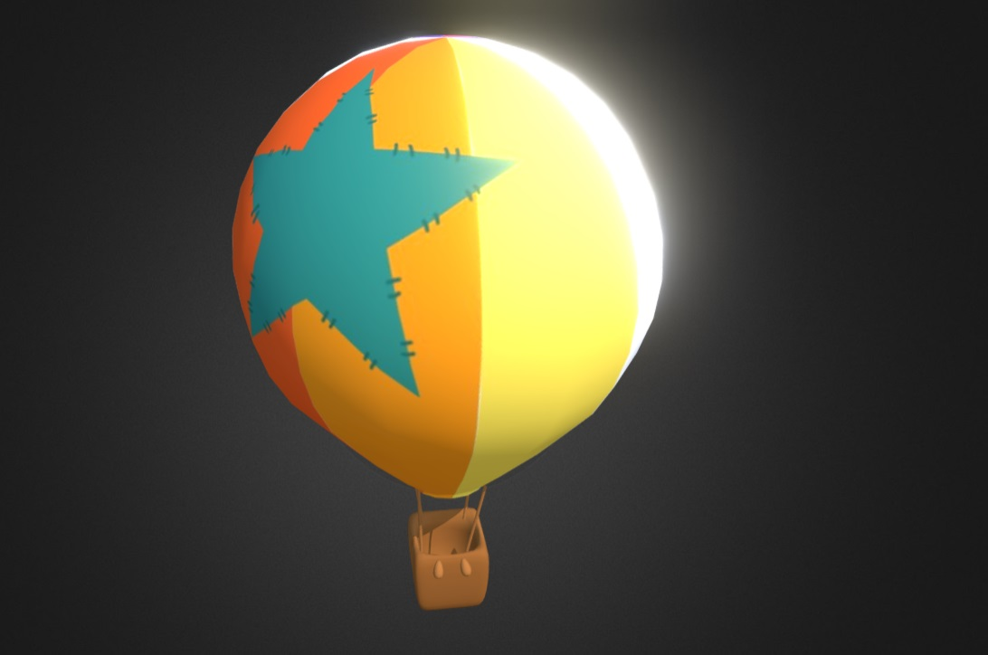 Low poly hot air balloon free 3d model download