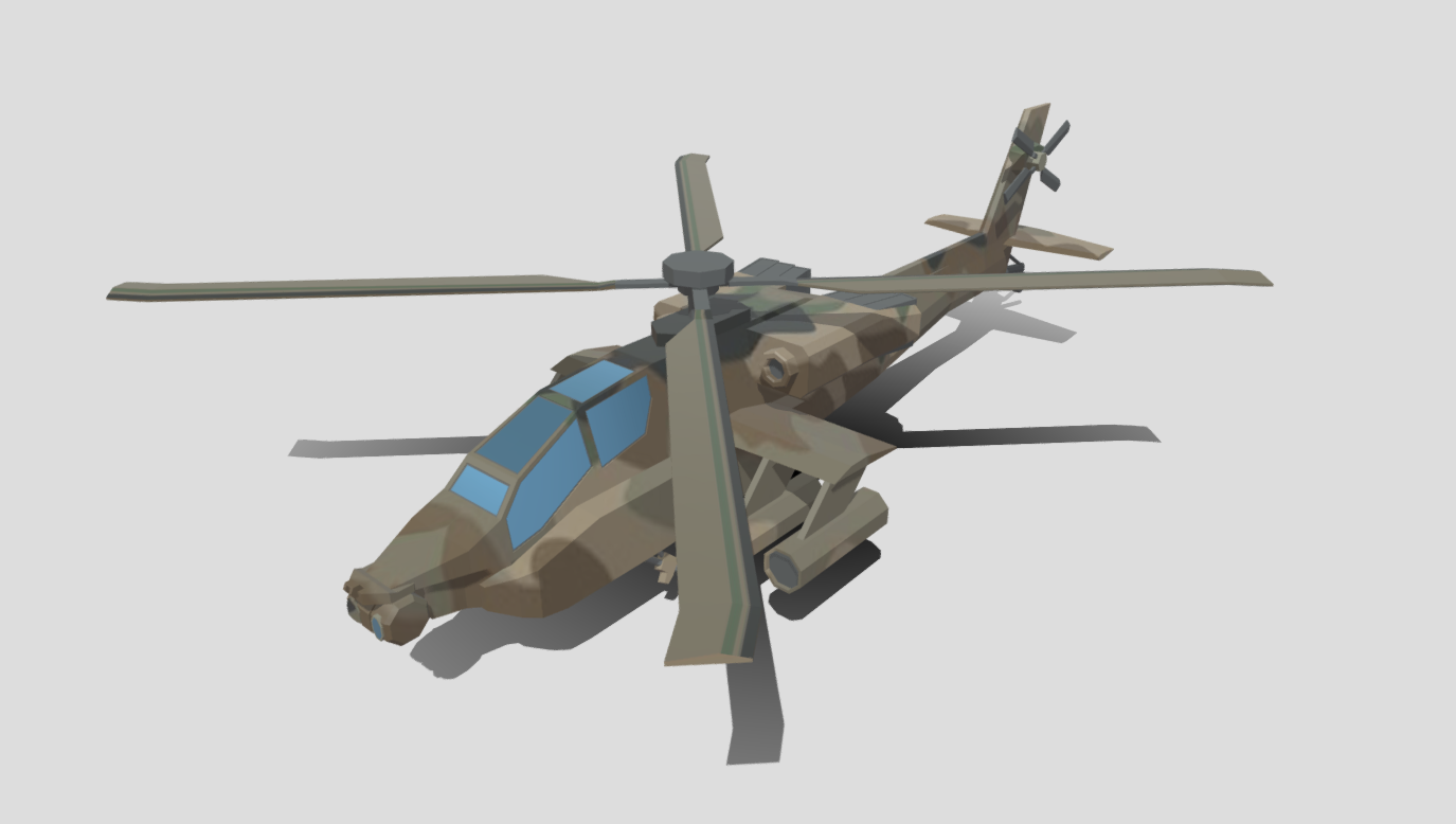 AH-64 Apache Attack Helicopter Low Poly free 3d model download