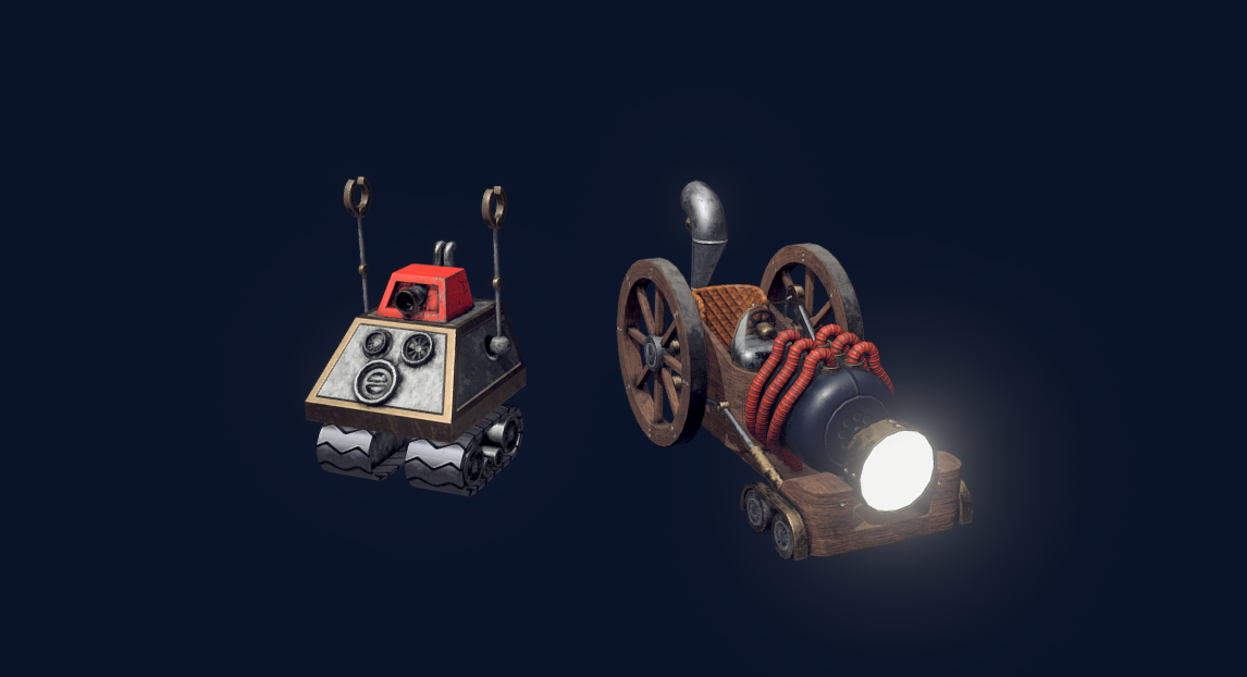 Steampunk Car and Robot free 3d model download