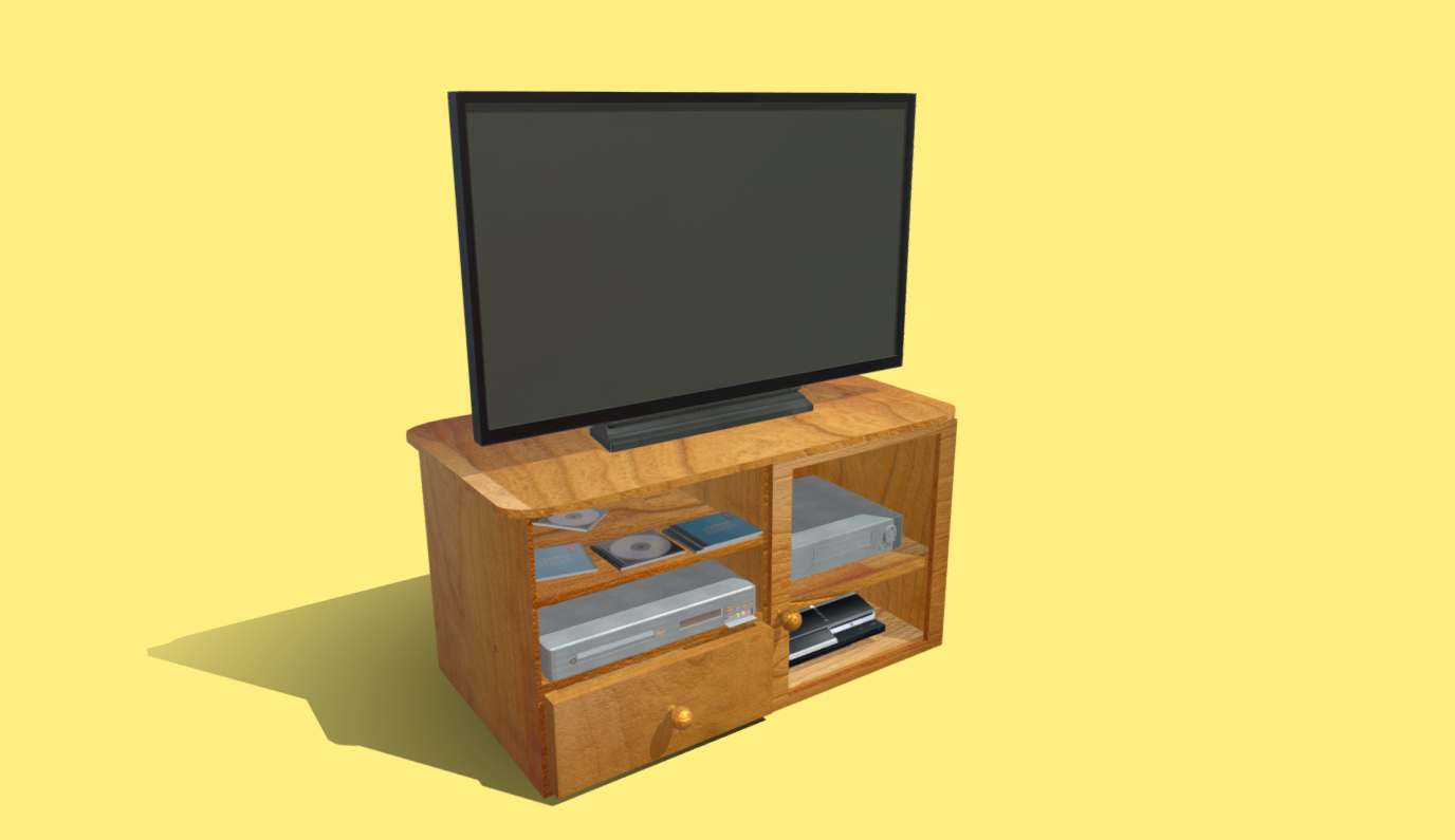 Cabinet with TV, DVD Player, VHS, PS3 free 3d model download