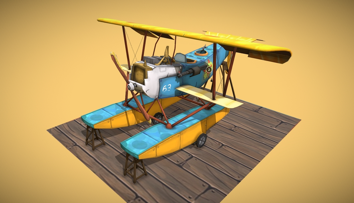 WW1 Airplane Hansa-Brandenburg W.12 Stylized free 3d model download