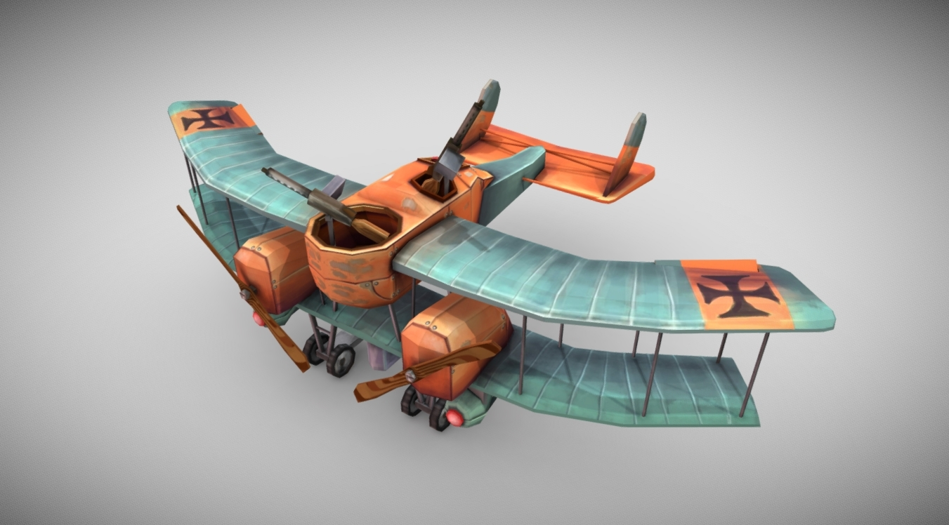 WW1 Stylized Plane (Gotha G.1) free 3d model download