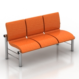 Bench red free 3d model download