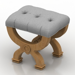 Seat Neoclassical Rondelle Tufted Burlap free 3d model download