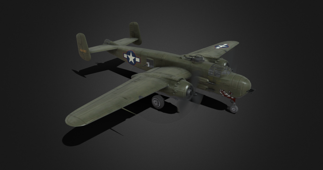 B-25H Mitchell Bomber free 3d model download