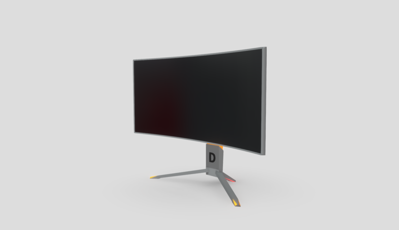 Curved Gaming Monitor free 3d model download