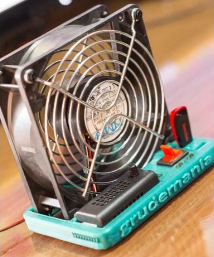 Desk fan 120mm base control power off speed and USB stand free 3d print model download