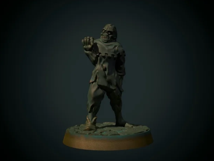 Townsfolk zombie 28mm (supportless, FDM friendly) free 3d print model download