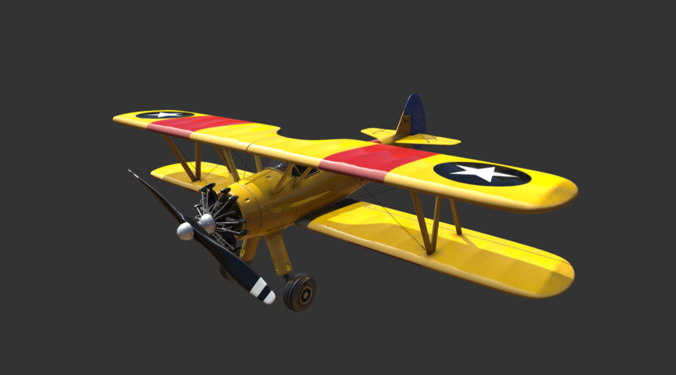 Yellow Plane Biplane free 3d model download
