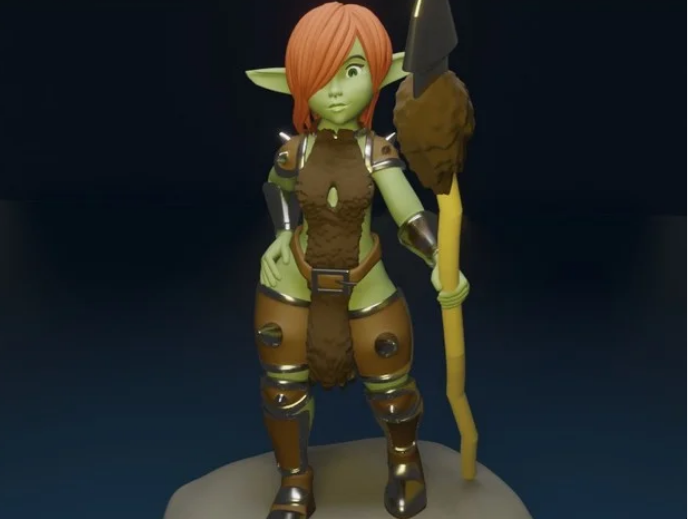 Cute Goblin Girl With Spear free 3d print model download