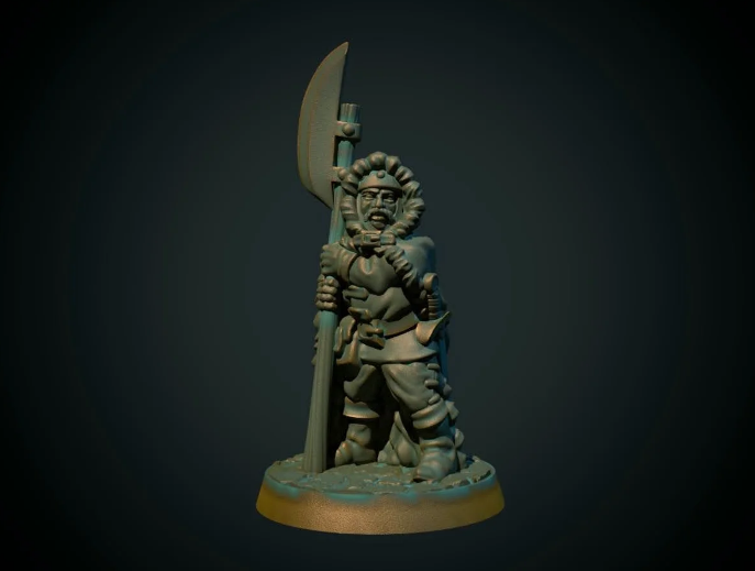 Guard with halberd 28mm (supportless, FDM friendly) free 3d print model download