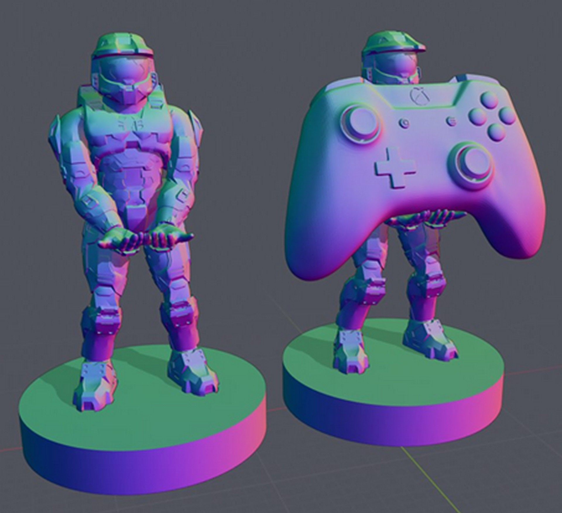 halo  master chief 3d model for printing stand for xbxb/ps controlloer