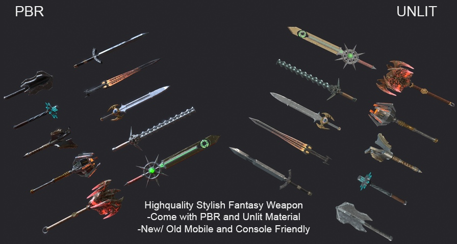 10 Fantasy Stylish Weapon unreal engine 4 free asset download